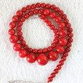 Новые моды для женщин подвески красный искусственный коралловые круглые бусины 6-14 мм башня уникальный дизайн цепи ожерелье бесплатная доставка 18 inch B666