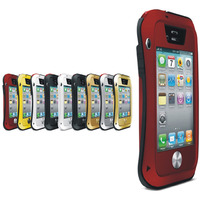 Aluminum Metal Waterproof Case Cover For Iphone 4 4S Shockproof Waist Glass Bumper