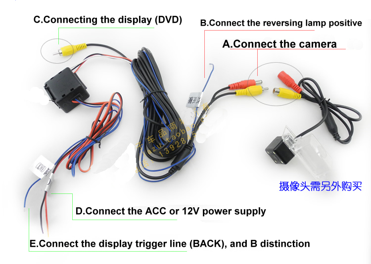 Tft Lcd Color Monitor Wiring Diagram Filter Car Rear View Reverse Camera Video Amp Power Wires