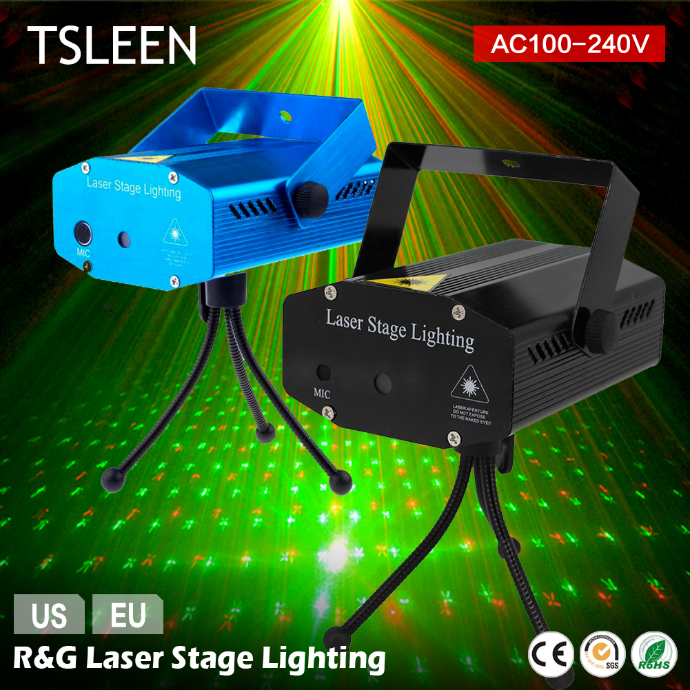 цена на TSLEEN Mini LED Laser Pointer DJ Disco Stage Light Christmas Party Pattern Lighting Projector Show+EU/US Plug+ Tripod Stand