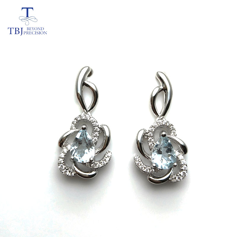 TBJ,Flower earring with natural brazil aquamarine gemstone jewelry in 925 silver rose gold color sweet gift for girls women ladyTBJ,Flower earring with natural brazil aquamarine gemstone jewelry in 925 silver rose gold color sweet gift for girls women lady