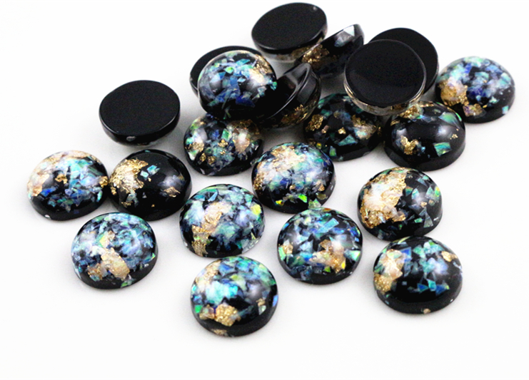 New Fashion 40pcs 12mm Black Colors Built-in Metal Foil Flat Back Resin Cabochons Cameo  G5-35