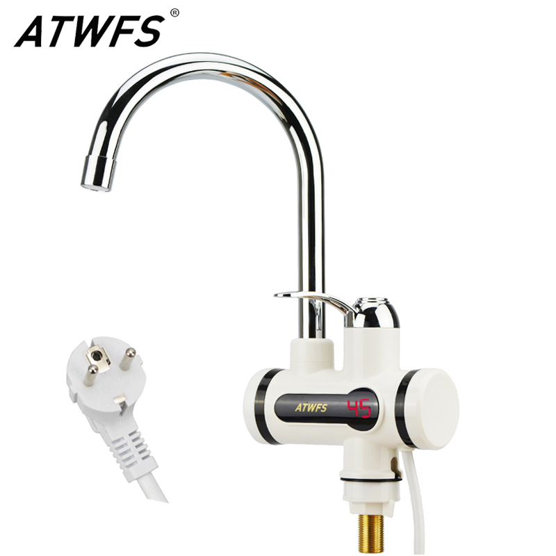 ATWFS Instant Tankless Water Heater Tap Instantaneous Faucet Kitchen Water Heater Crane Instant Hot Water Faucet Digital EU Plug tintonlife eu plug tankless instant faucet water heater instant water heater tap kitchen hot water crane led digital