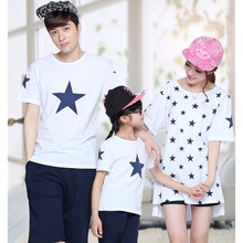 Casual Family Set Cotton Stars Print T shirts Mother Daughter Father Son Clothes Family Clothing Family Matching Outfits TM