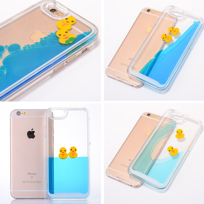 3D Clear For iPhone 6 Case Flowing Liquid Swimming Yellow Duck Back Cover For iPhone SE 5 Case Cute For iPhone 6 S Plus 5 5S SE