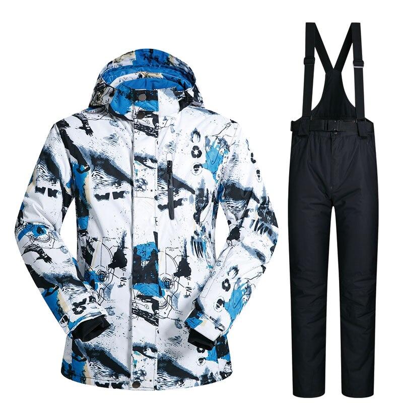 Costume de Ski hommes hiver nouveau plein air coupe-vent imperméable à l'eau thermique veste de neige et pantalon vêtements Ski et snowboard costumes marques