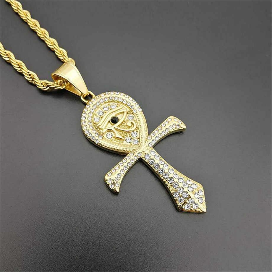 Египетский крест кулон Цепочки и ожерелья для Для женщин/Для мужчин золото Цвет кольцо из нержавеющей стали гора Цепочки и ожерелья цепи из нержавеющей стали ювелирные изделия из египта