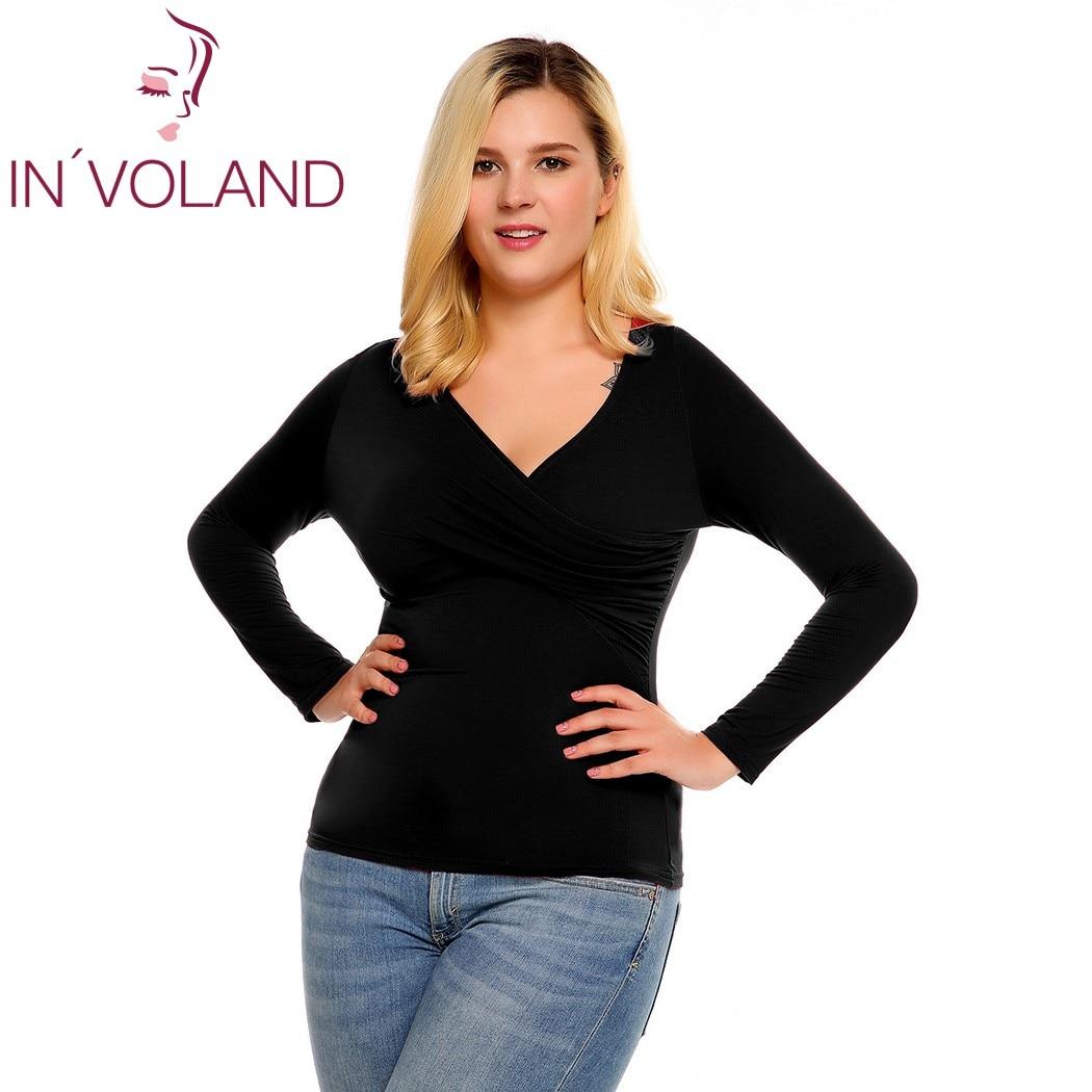 IN'VOLAND Frauen T-Shirts Top Plus Size Frühling Herbst Tiefem - Damenbekleidung - Foto 2
