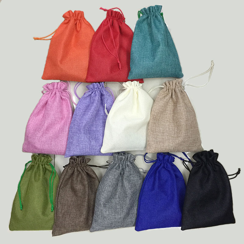 RE 7*9cm 50pcs/lot Handmade Jute Drawstring Burlap Wedding Party Christmas Gift Jewelry Pouches Packaging Bags