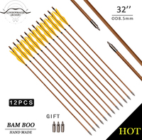 LongbowMaker One Doz Traditional Handmade Yellow Feathers Hunting Bamboo Arrows Ali Bow Archery Nice Fletching Free