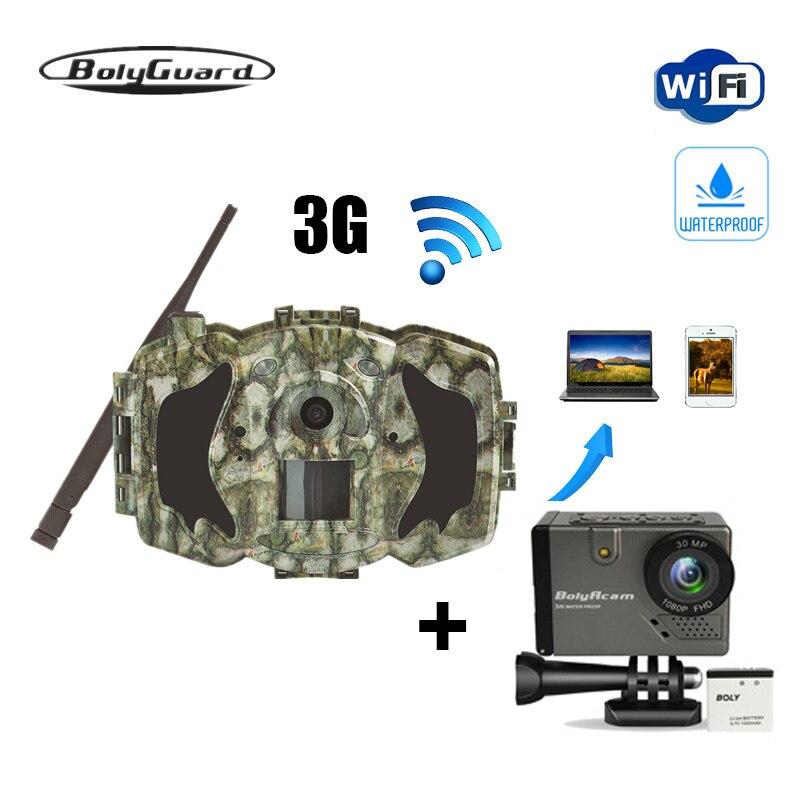 Bolyguard chasse caméra 30MP 1080 P Trail Caméra 3G Sans Fil GSM téléphone MMS GPRS imageur thermique Photo Piège sauvage caméra et BA101