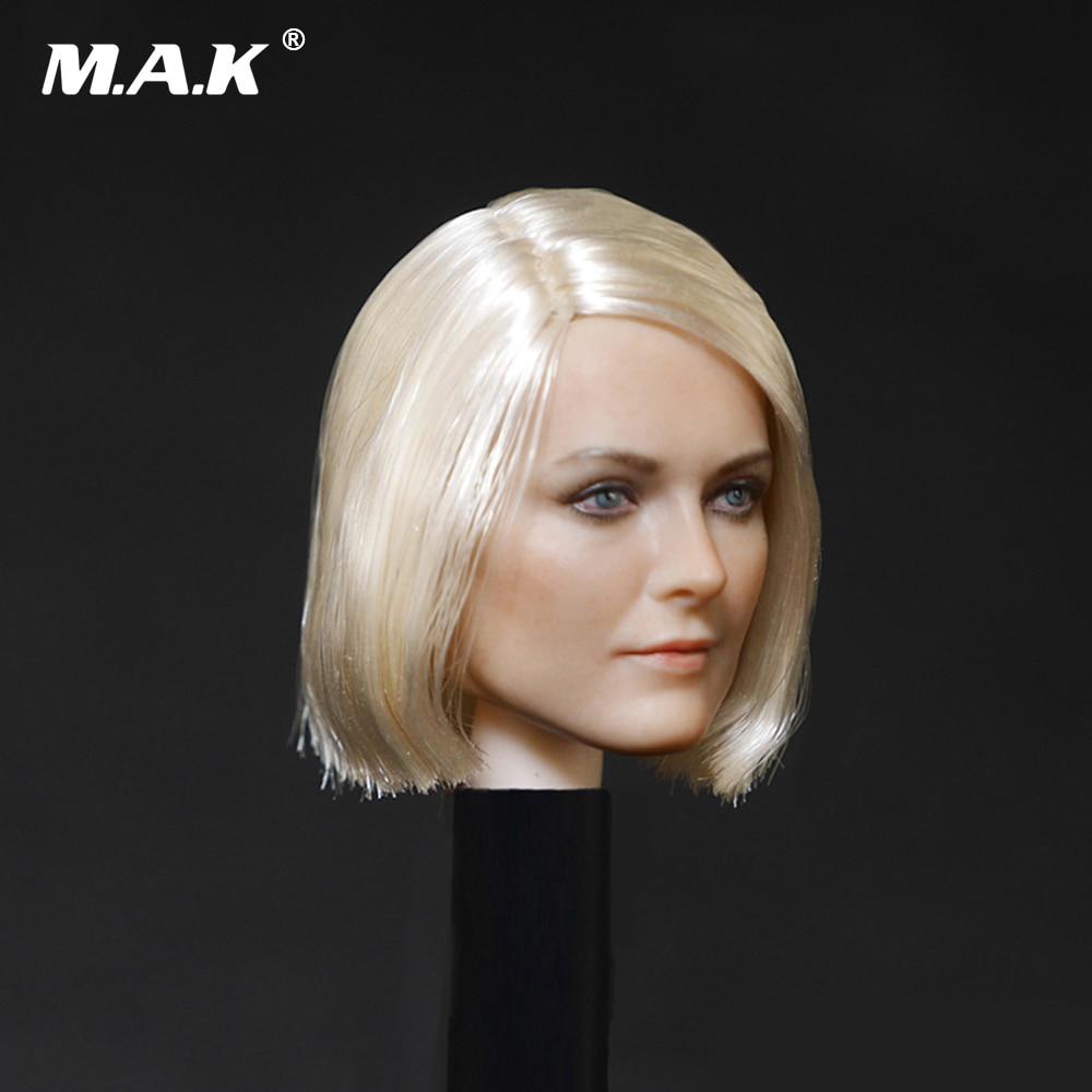 "D-001 1/6 Kvinnlig huvudskulptur Kort hårstilhuvud Carving Modell Passar 12 ""PH Collectible Action Figur Doll Toys"