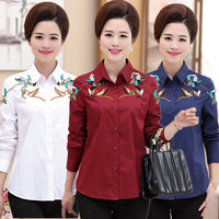 spring Autumn White Embroidered Women Casual Shirts Flower Pattern Long sleeve Square Collar Ladies Blouses Plus Size Tops