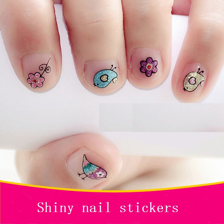 Children's Shiny Nail Stickers Cartoon Nail Sticker Lovely Decal Children Toys Sticker