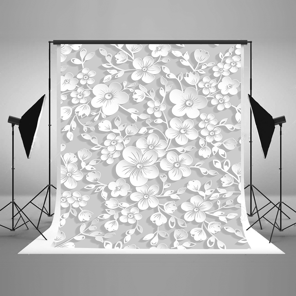 Kate 5x7 Backdrop for Photography Mural Fabric White Carved Flower Studio Photography Props for Professional Photography
