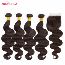 Miss Rola Hair Pre-colored Ombre Peruvian Body Wave Hair #2  Non-Remy 100% Human Hair Weave 4 Bundles with Closure Extension