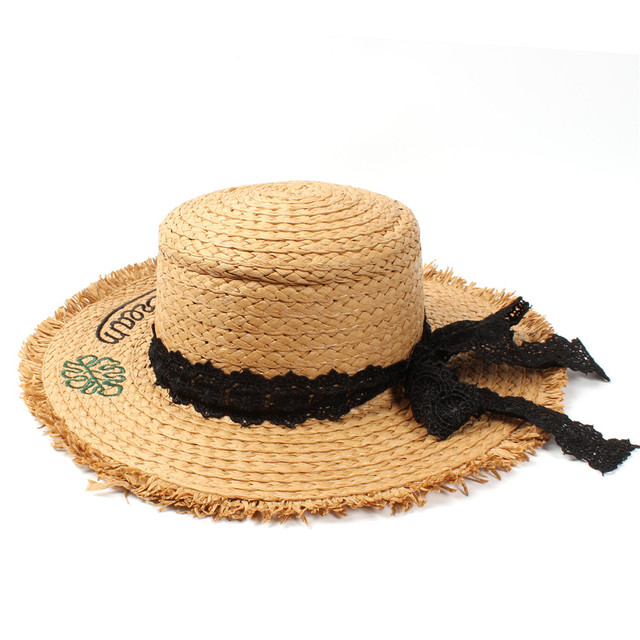 696d380cfd3 Summer Raffia Embroidery Travel Women Beach Sun Hat For Elegant Lady Pork  Pie Seaside Bucket Sun