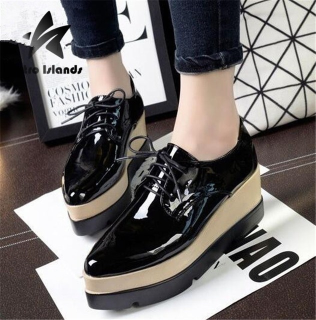 1f27a3135354 Hot Sale 2016 New Luxury Brand Flat Platform Shoes Women Leather Shoes Lace  Up Creepers Pointed Toe Wedges Shoes Ladies Flats