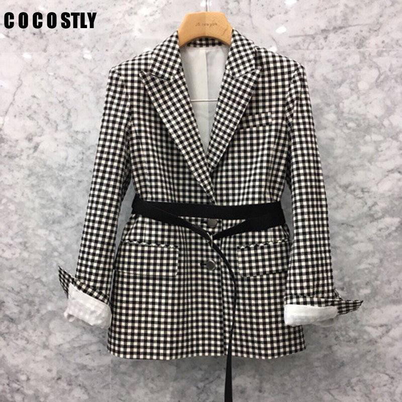 Spring And Autumn Blazer Women Belt Waist Small Suit Retro Casual Suit Jacket Female Long Sleeve Plaid Blazer Femme Tide