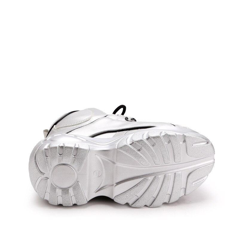 Bottes Femmes À Hauteur argent Moto Pour Noir Cheville Augmentant Plateforme Chaussures Cales Automne Mode blanc Talons Hauts Laçage Plates Décontractées Baskets C1qBBF
