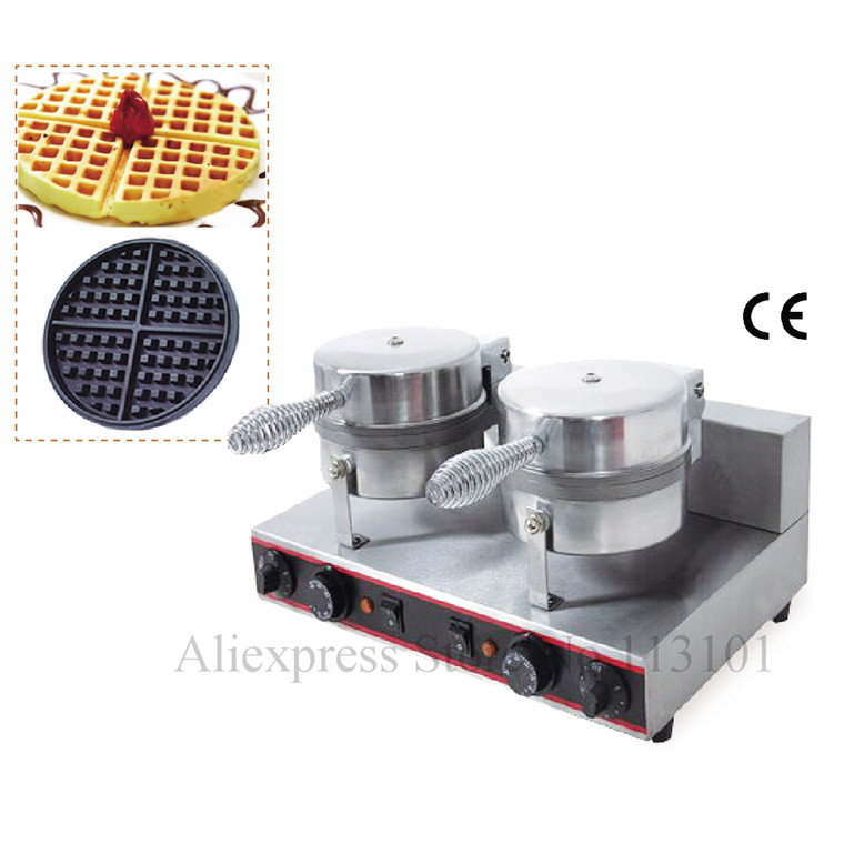 Double Heads Commercial Waffle Maker Classic Non-stick Waffle Mould Easy Operation Durable Stainless Steel Waffle Machine excellent quality double heads heart shape commercial waffle maker waffle machine