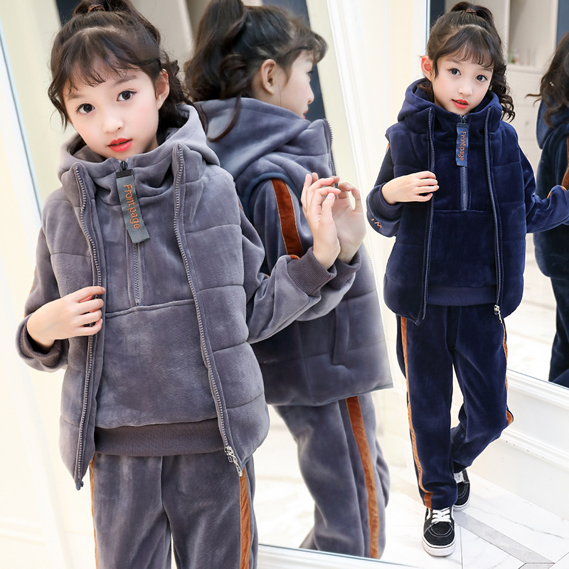 2018 Girls Clothing sets Winter Fleece Thick Kids Tracksuit for Girls Clothes Children Clothing Set Sweater Vest Pants 3pcs купить недорого в Москве