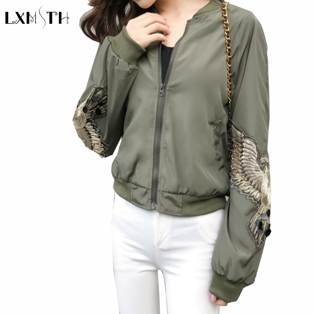 Spring Sequins   Jacket   Green and Coats 2019 Autumn BF Style Female Casual Bomber Sporty   Jackets   Print Women   Basic     Jackets