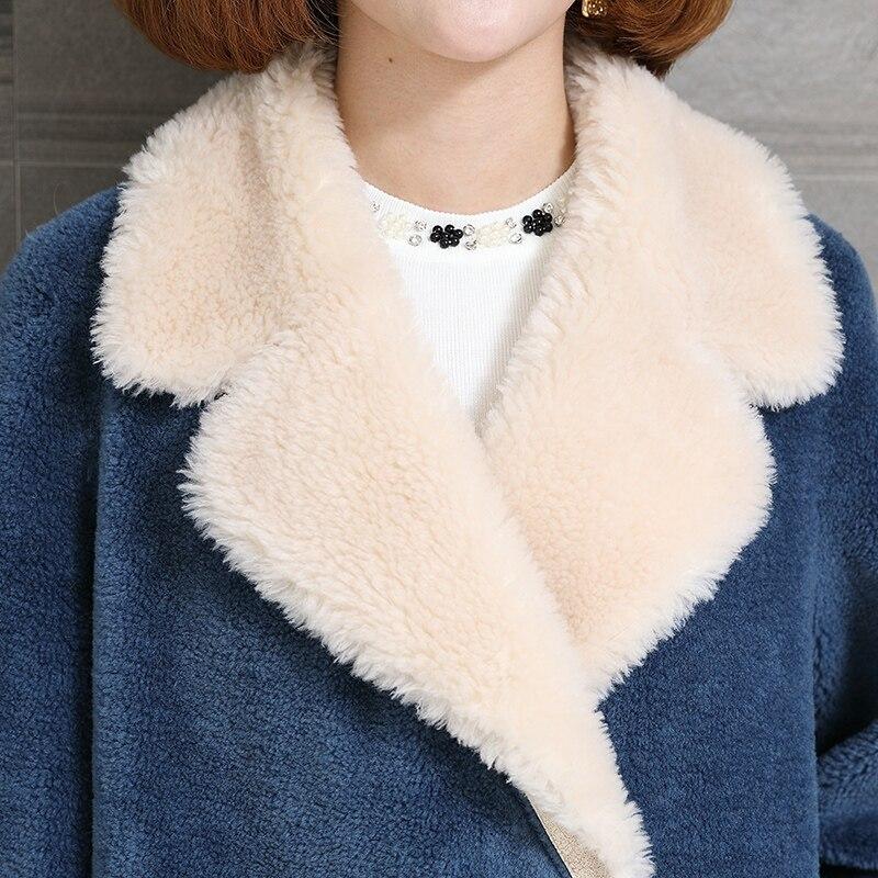 Blue Laine Coréenne Veste Tonte Long Hiver Vraie Manteau Ayunsue Femme Moutons Femmes Des Kj966 Fourrure 2018 Vêtements mO8NwP0yvn