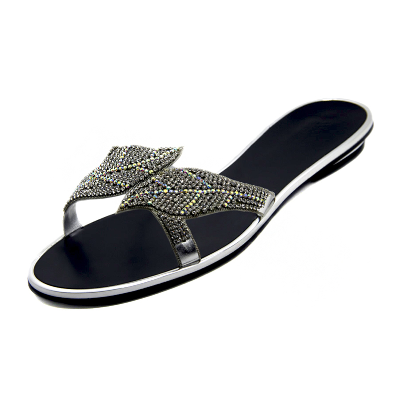 db701586742 Latest Ladies Black Silver Color Crystal Sandals 2016 Summer Womens Flat Slippers  Women Fashion Rhinestone Shoes Large Size Shoe-in Slippers from Shoes on ...
