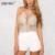 Topos de verão 2016 Rendas de Croché Camis Topo Colheita Boho Branco oco Out Beach Wear Cropped Tops Curto Padrão Sexy Girl Top