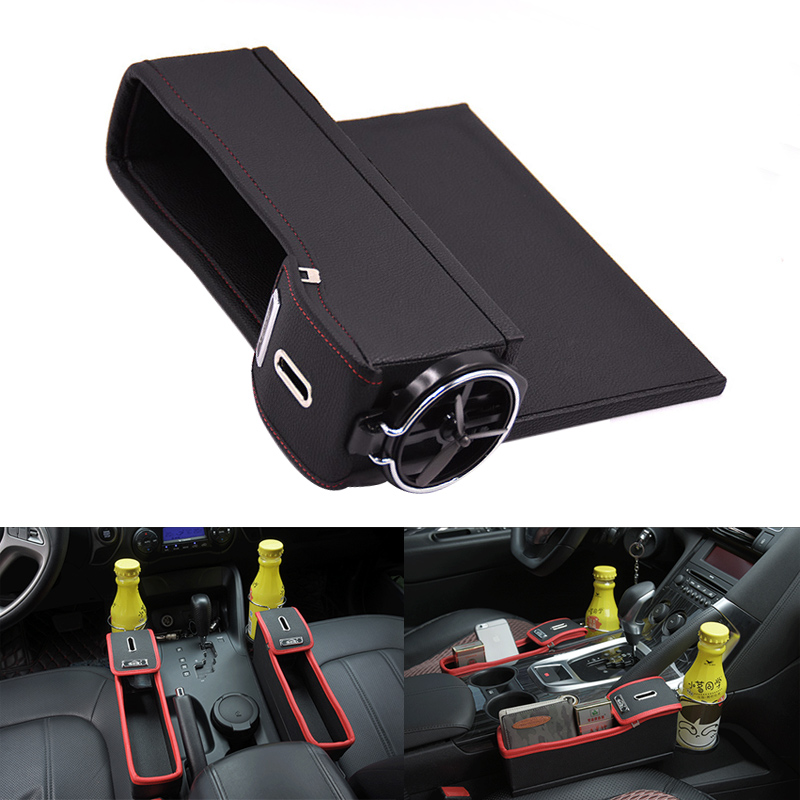 Leather Car Seat Crevice Storage Box Cup Drink Holder Organizer Gap Pocket R//L