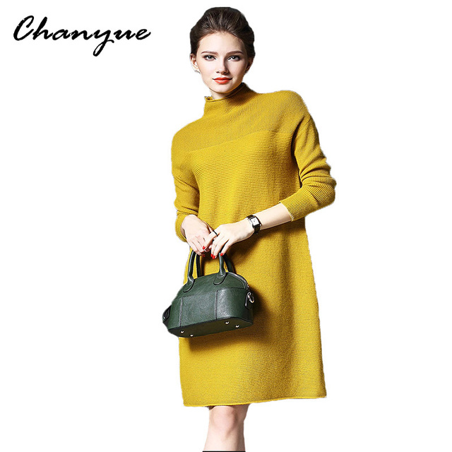 Chanyue Осень Зима Dress Женщины Офис Трикотажные Dress Red Длинным Рукавом Vestidos Плюс Размер Водолазка Халат Femme Свитер Платья