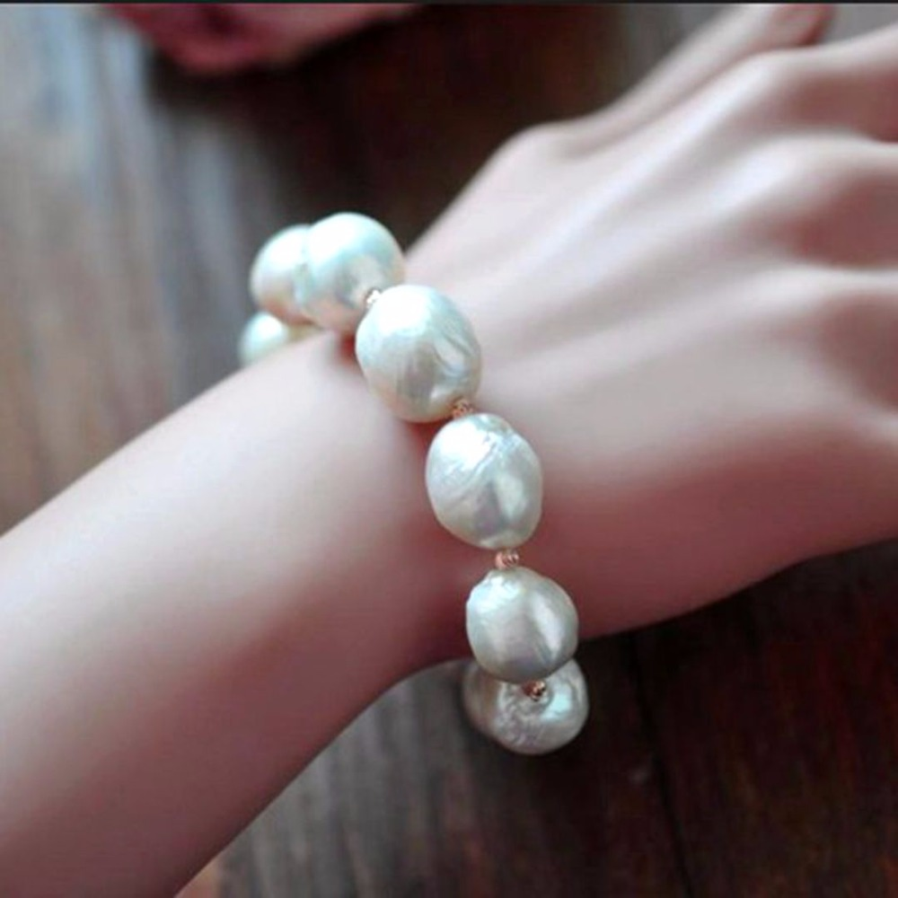 S925 Sterling silver 100% Natural white Baroque big 11-13mm Pearl Bracelet Fashion elasticity bracelets For women Free shipping baroqueonly s925 sterling silver 100% natural white baroque big 15 25mm pearl bracelet fashion jewelry for women hl