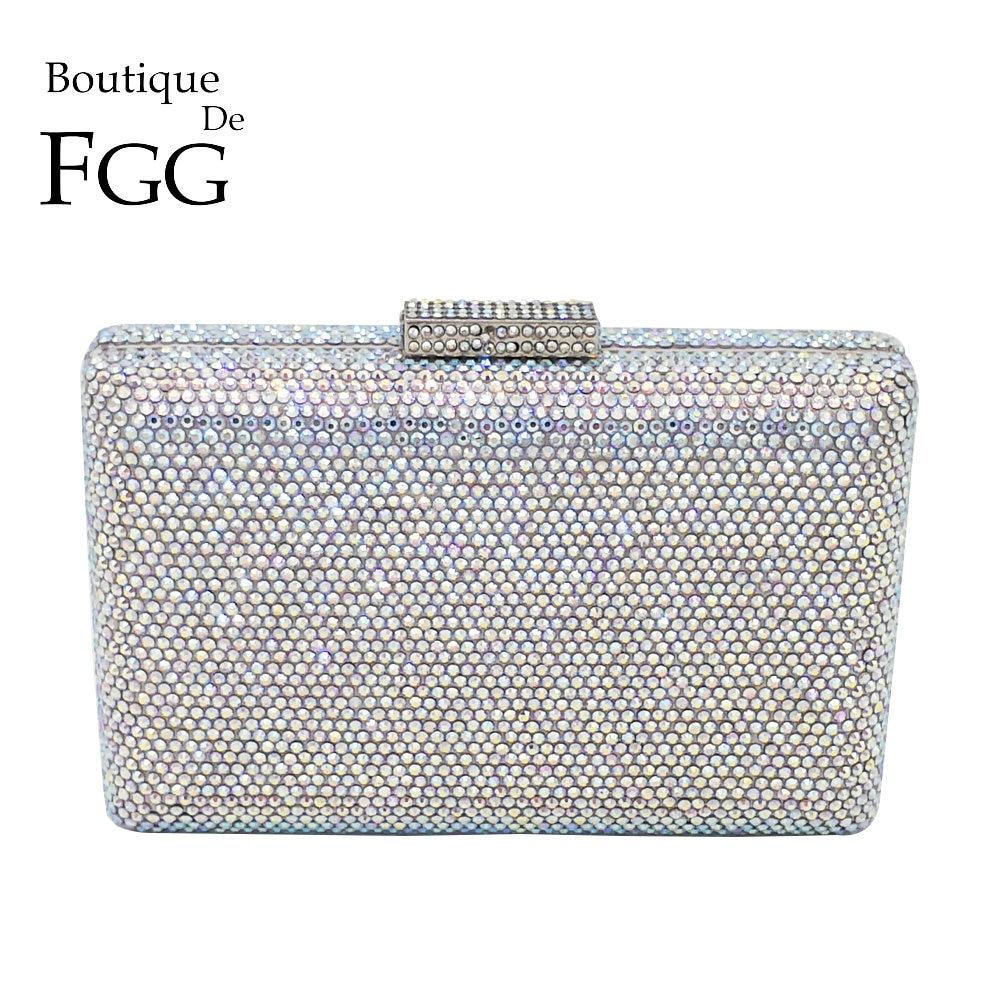 Boutique De FGG Dazzling Silver Crystal AB Women Evening Clutch Handbag and Purse Bridal Wedding Party