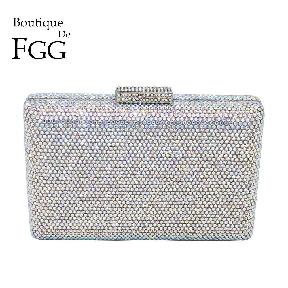 Boutique De FGG Éblouissant Argent Cristal AB Femmes de Soirée D'embrayage Sac À Main et Sac À Main De Mariée De Noce Chaîne D'épaule Sac
