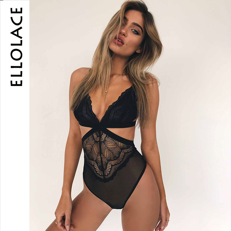 Ellolace Sexy Lace Bodysuit Hollow Out Body For Women Rompers Transparent Female Bodycon Ladieds Summer Overslls 2019 Jumpsuit
