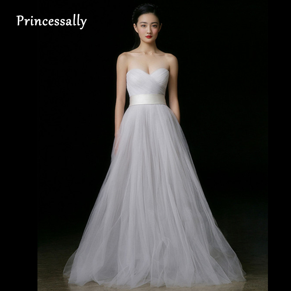 Simple wedding dress white sweetheart tulle pleat off the for Cheap wedding dress from china