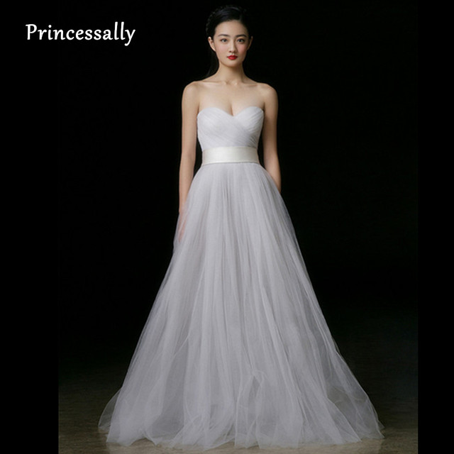 Simple Wedding Dress White Sweetheart Tulle Pleat Off The Shoulder Cheap Made In China