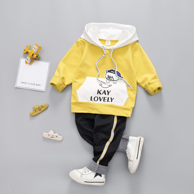 2-Piece Baby / Toddler Cute Bear Long Sleeve Hoodie and Long Pants Set
