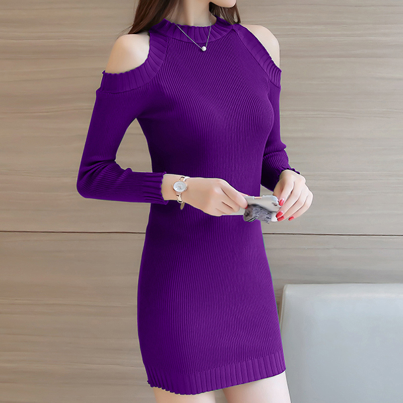 Fashion Sexy Dress Women 2019 Spring New Gown Waist Elegant Evening Party Solid Color Tight Knit  Mini Dresses Long sleeve D456