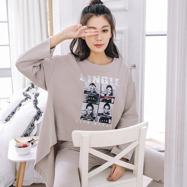 New Fashion Promotion Casual Pajamas Sets Women Pyjamas Long Sleeve V-Neck Lady Cotton Sleepwear Nightwear Sleep Lounge Charater