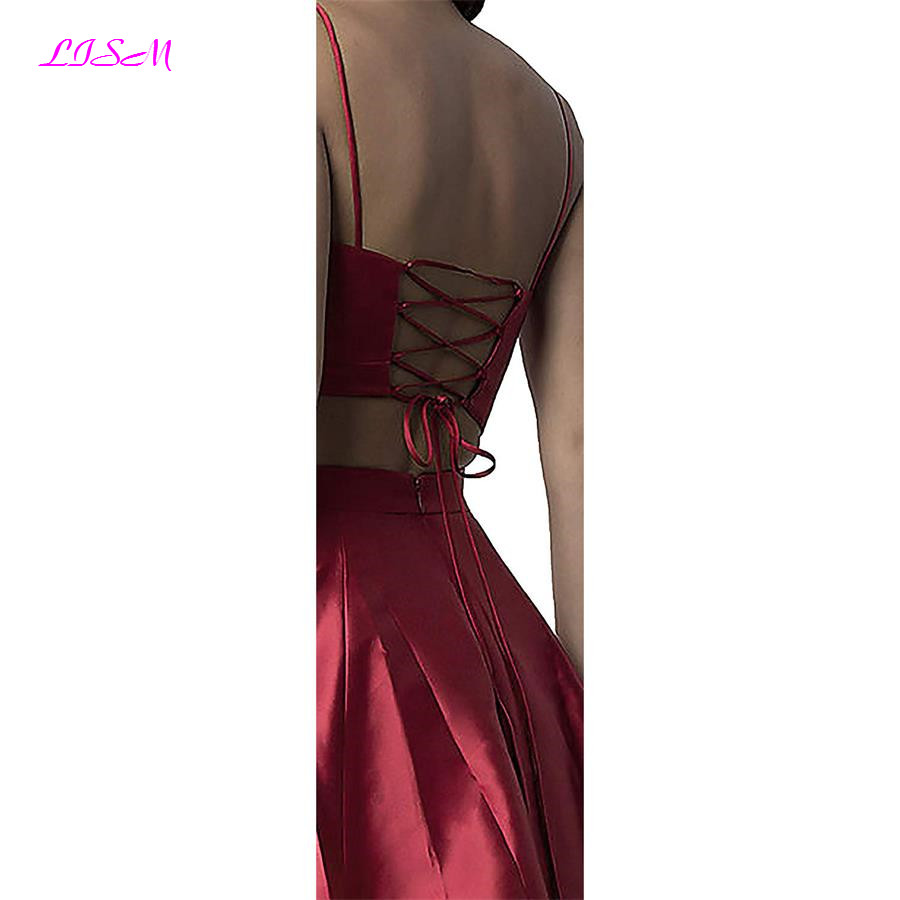 Spaghetti Straps V-Neck Prom Dresses 2019 with Pockets Long Two Pieces Formal Dresses Satin Bridesmaid Dresses Backless vestidos