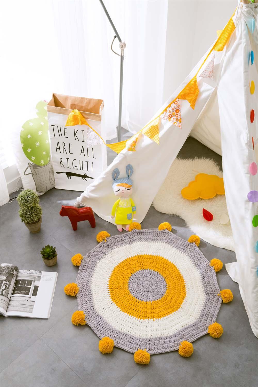 INS Children Premises Mat Hand-woven Mats Baby Play Mats Knitted Blanket Handmade Ball Children Premises Mat Crawling Mat (9)