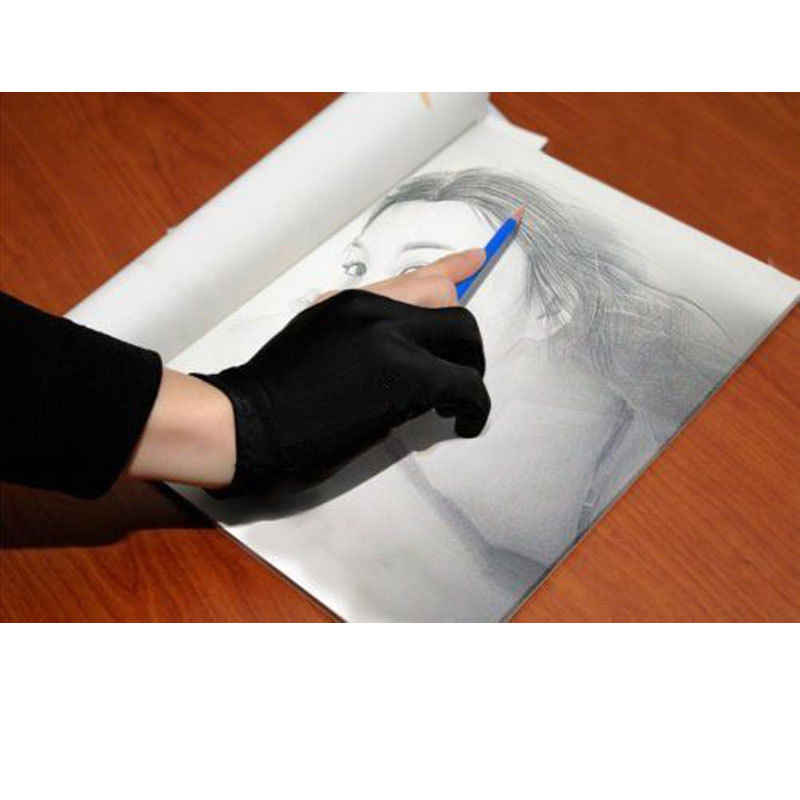 Artista desenho dois dedos anti-incrustação luva profissional artista luva pintura gráfico tablet desenho tamanho livre