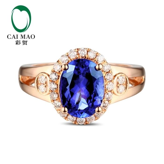 купить CaiMao 18KT/750 Rose Gold 2.16 ct Natural IF Blue Tanzanite AAA 0.19 ct Full Cut Diamond Engagement Gemstone Ring Jewelry по цене 49295.47 рублей