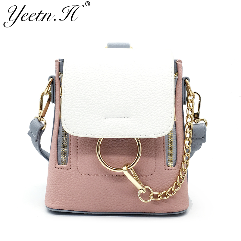 Yeetn H Female Vintage Handbag A Bag of three uses PU Leather Women messenger Bag Panelled