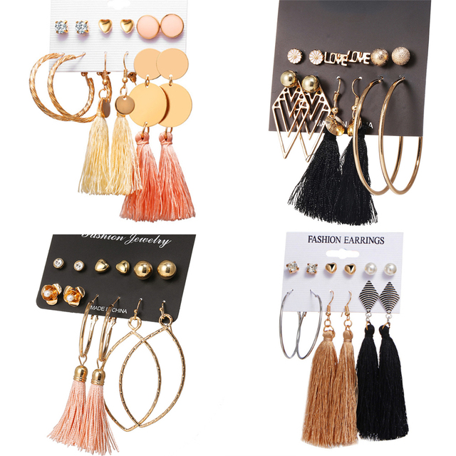 17KM 21 New Design Tassel Stud Earrings Set For Women Girl 2019 Bohemian Gold Flower Long Earring Female Fashion Wedding Jewelry