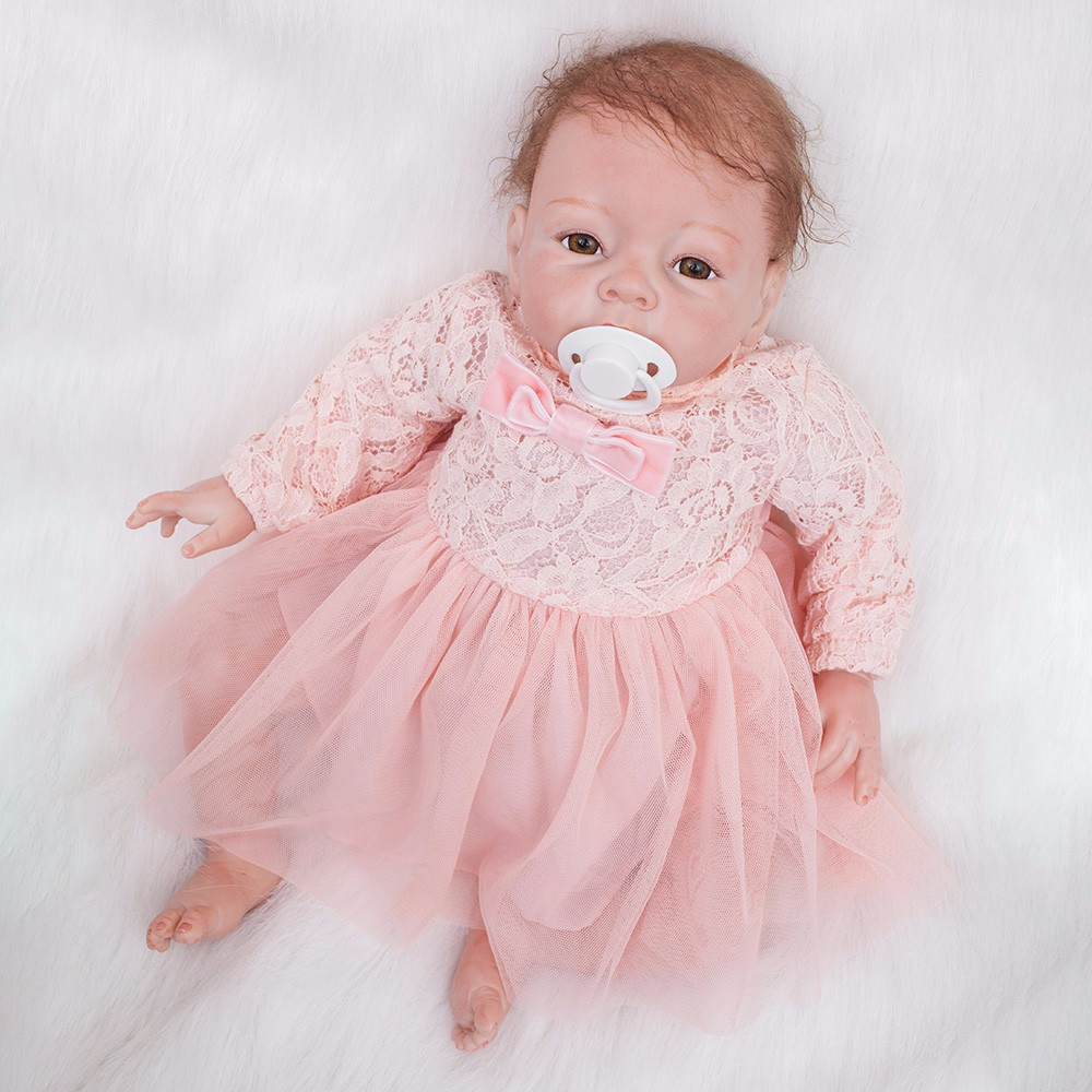 Image 4 - 22 inch Reborn Dolls Little Princess Silicone Baby Realistic Doll Kids Playmates Pink Dress Lifelike Bebe Newborn Dolls 55cm-in Dolls from Toys & Hobbies