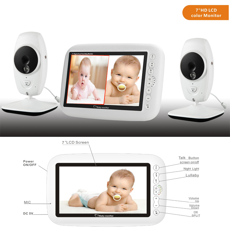 "720P HD 7"" Wireless Baby Monitor With Two Digital Camera IR Night Vision Intercom Nanny Video Baby Monitor Supports Screen Split-in Baby Monitors from Security & Protection"