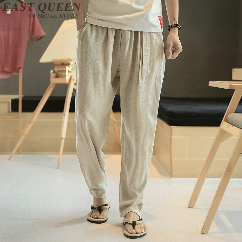 Mens lightweight summer pants kung fu pants linen trousers men traditional chinese clothing for men FF846